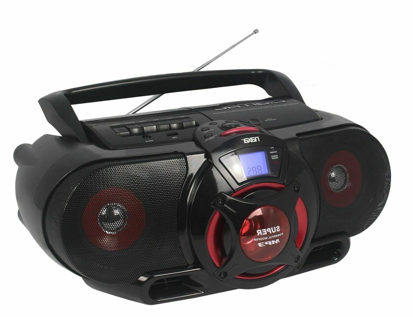 portable bluetooth cd cassette player with subwoofer